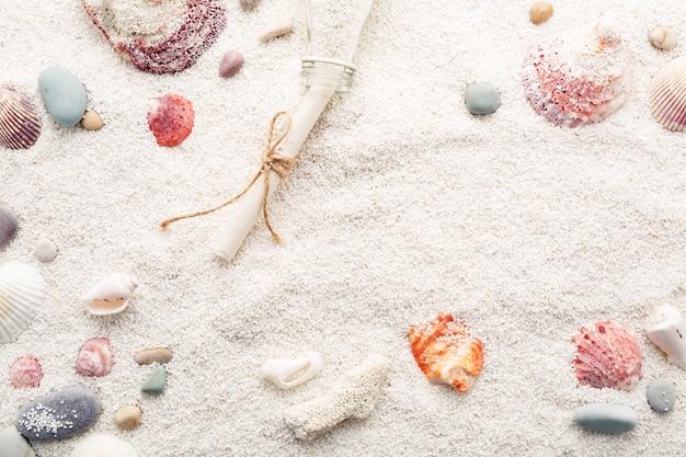 Fundo do verão das conchas do mar e dos seixos do mar na areia da praia.