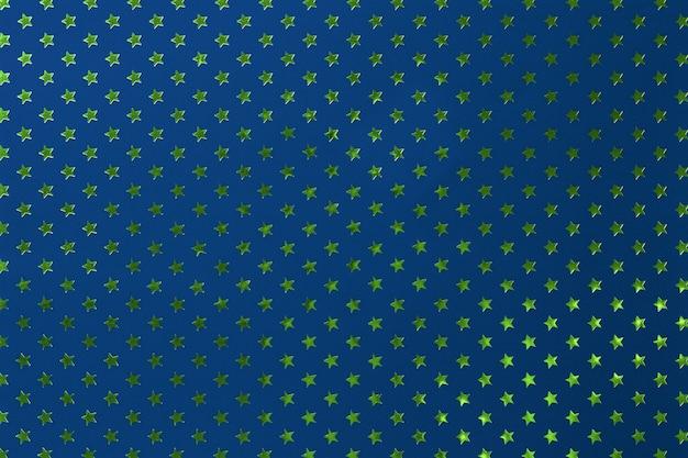 Fundo dos azuis marinhos do papel da folha de metal com estrelas verdes douradas.