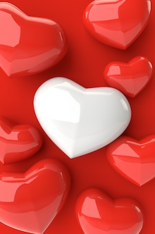Fundo dos corações, rendição 3d.
