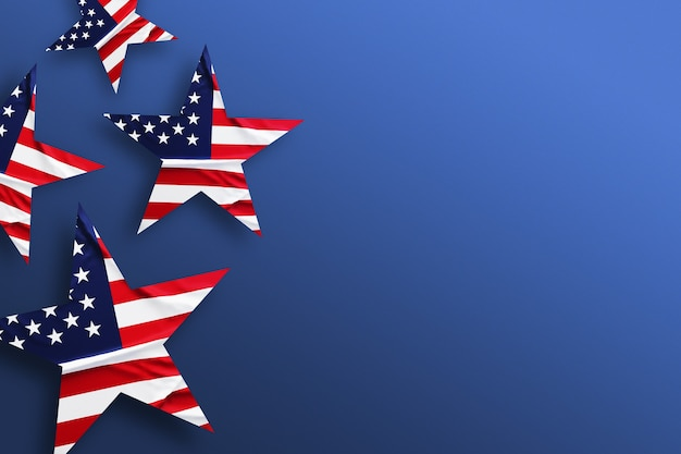 Fundo dos eua com a bandeira americana decorada com estrelas. férias padrão vista superior. faixa plana lay