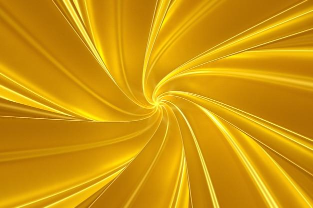 Fundo dourado abstrato de faixas tridimensionais torcidas na ilustração 3d do túnel