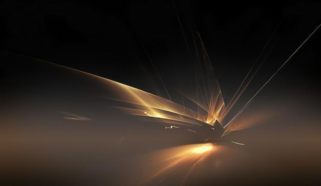 Fundo dourado brilhante horizonte fractal abstrato