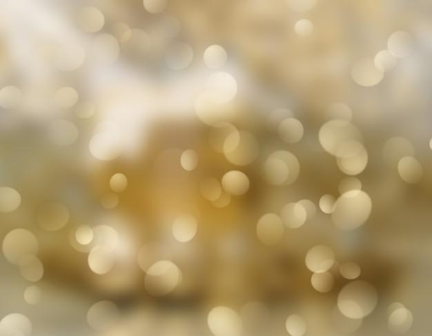 Fundo dourado de natal com luzes desfocadas