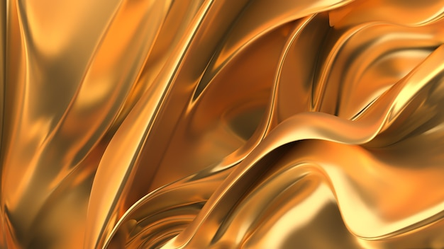 Fundo dourado luxuoso com tons, pregas e ondas brilhantes em madrepérola. ilustração 3d, renderização em 3d.