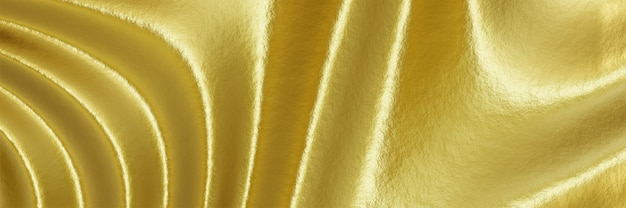 Fundo dourado ondulado abstrato renderizado em 3d