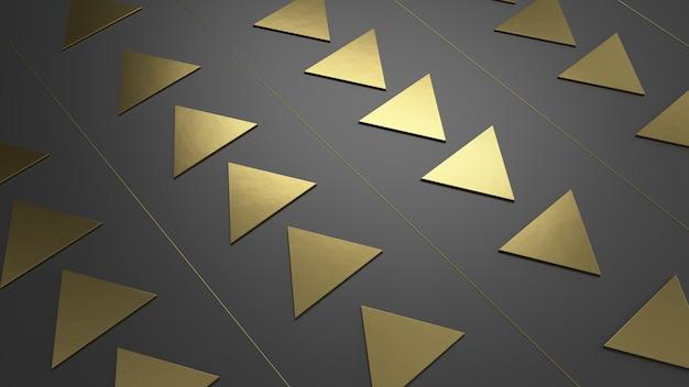 Fundo dourado preto de triângulos renderização em 3d