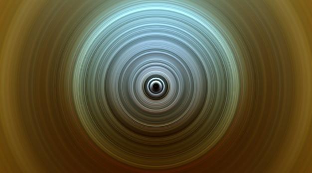 Fundo dourado redondo abstrato. círculos do ponto central. imagem de círculos divergentes. rotação que cria círculos.