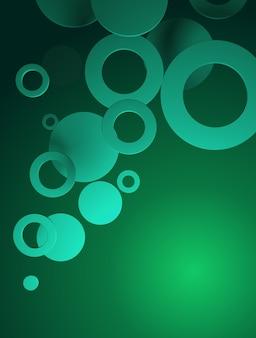 Fundo em gradiente verde, com figuras circulares
