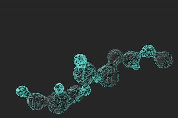 Fundo escuro abstrato com a imagem de dividir as bolas tecidas de uma variedade de linhas coloridas brilhantes. ilustração 3d