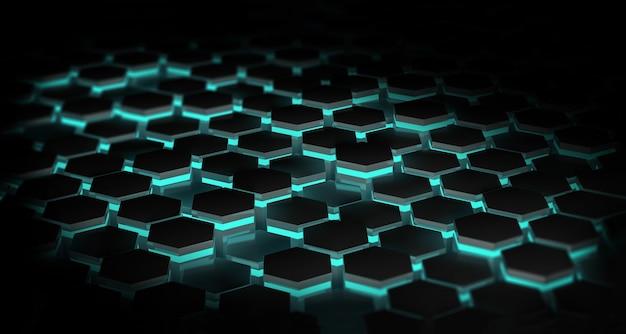 Fundo escuro abstrato com hexágonos iluminados com luzes azuis. conceito de tecnologia