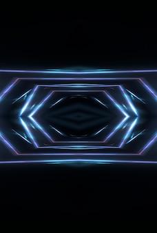 Fundo escuro com linhas e focos, luz de néon azul, visão noturna. fundo azul abstrato. reflexão de padrões modernos futuristas.