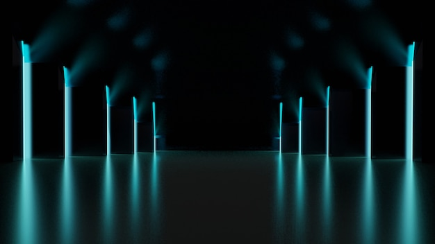 Fundo escuro com luzes de néon verdes 3drendering