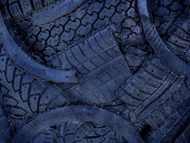 Fundo escuro de borracha para rodas, pneus, padrão de banda de rodagem