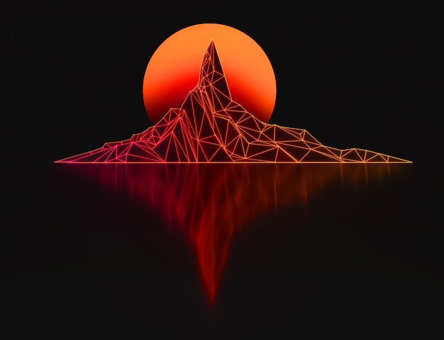 Fundo escuro futurista abstrato com imagem baixa poli da montanha e sua reflexão e lua com ilustração 3d de nuvens