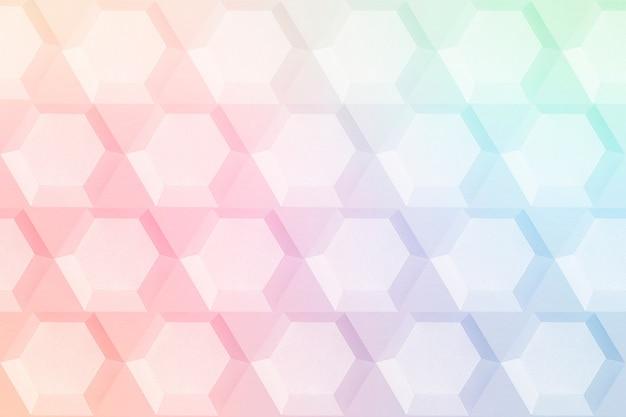 Fundo estampado do hexágono do arco-íris de papel artesanal
