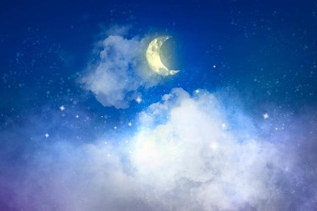 Fundo estético com lua crescente branca
