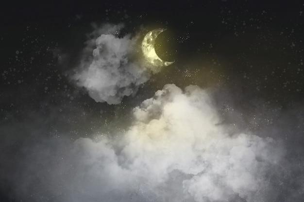 Fundo estético preto com lua crescente