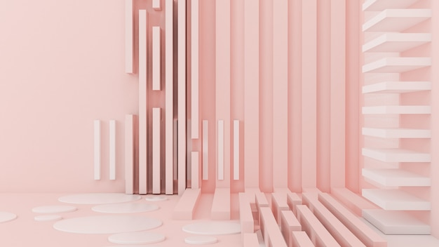 Fundo, estúdio e pedestal de luz branca rosa. ilustração 3d, renderização em 3d.