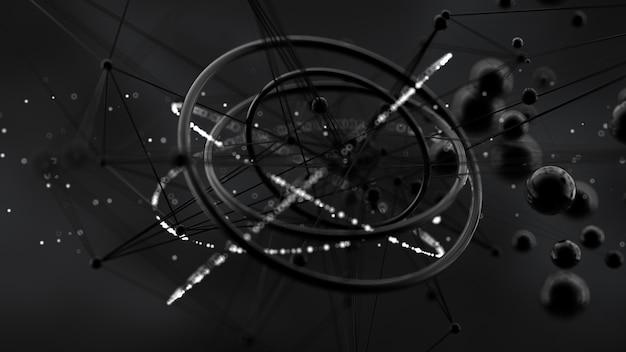 Fundo fantástico, abstrato, preto, espaço. renderização em 3d.