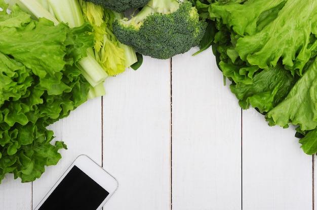Fundo feito de legumes, conceito de comida saudável