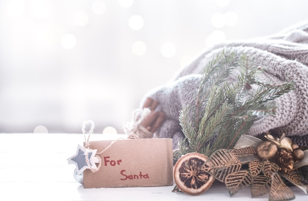 Fundo festivo de natal com decoração festiva, conceito de natal