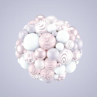 Fundo festivo, positivo, brilhante com bolas. renderização em 3d.