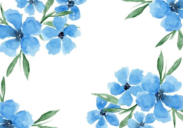 Fundo floral azul aquarela delicado com flores de papoulas margaridas pintadas