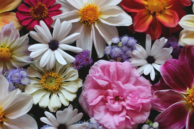 Fundo floral bonito, vista superior. buquê de jardim de verão.