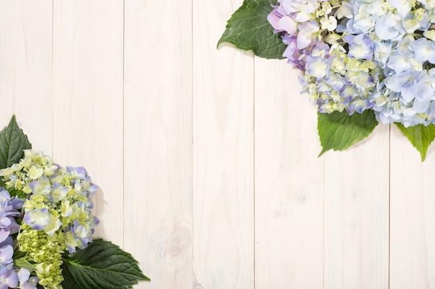 Fundo floral com flores de hortênsia