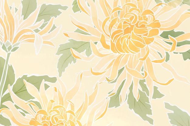 Fundo floral de crisântemo desenhado à mão