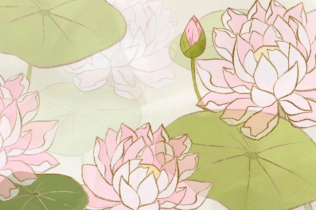 Fundo floral de nenúfar desenhado à mão