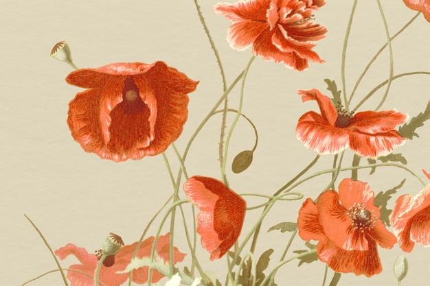 Fundo floral vintage com ilustração de papoula, remixado de obras de arte de domínio público