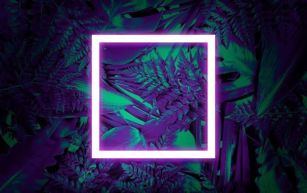 Fundo fluorescente de verão, cartão de quadro em branco abstrato verão