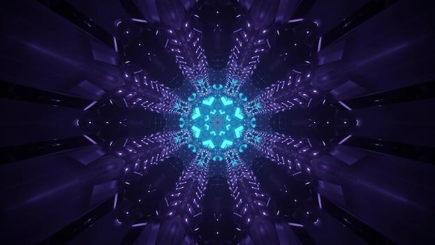 Fundo futurista abstrato brilhante com círculo de néon azul brilhante e raios roxos na escuridão, criando a ilusão de um túnel fantástico