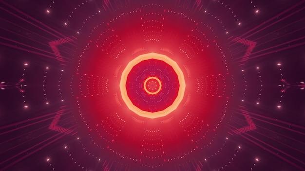 Fundo futurista abstrato com iluminação vermelha e amarela brilhante dentro de um túnel redondo com reflexos de luz