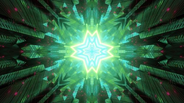 Fundo futurista abstrato da perspectiva do túnel de ficção científica com um buraco em forma de estrela geométrica brilhando em luz de néon verde refletida em painéis simétricos