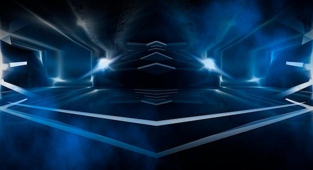 Fundo futurista abstrato escuro. as linhas de néon brilham. linhas de néon, formas. luzes desfocadas. fundo de palco vazio. fundo azul escuro, raios amarelos.