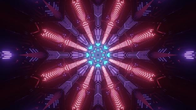 Fundo futurista abstrato ilustração 3d de túnel sci fi escuro com orifício redondo e luzes de néon multicoloridas formando um ornamento circular geométrico