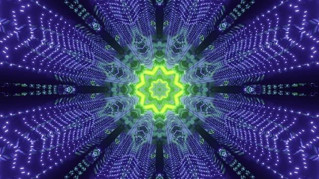 Fundo futurista abstrato ilustração 3d do túnel espacial sci fi com centro em forma de estrela de néon verde brilhante e partículas azuis piscando formando linhas geométricas