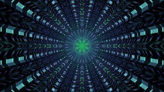 Fundo futurista abstrato ilustração 4k uhd 3d com células metálicas simétricas formando um design de interior de túnel redondo com luzes de néon brilhantes