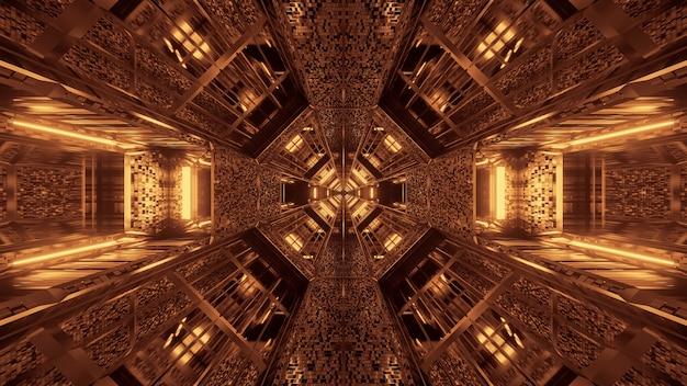 Fundo futurista com padrões de luz de néon abstratos brilhantes
