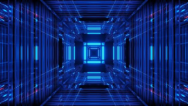Fundo futurista de ficção científica abstrata com luzes de néon azuis