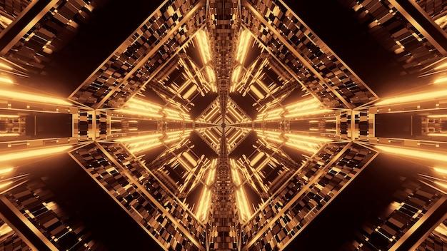 Fundo futurista de ficção científica abstrata com luzes de néon douradas