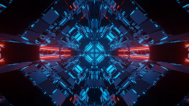 Fundo futurista de ficção científica abstrata com luzes de néon vermelhas e azuis