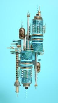 Fundo futurista de minimalismo moderno com cubos e bolas