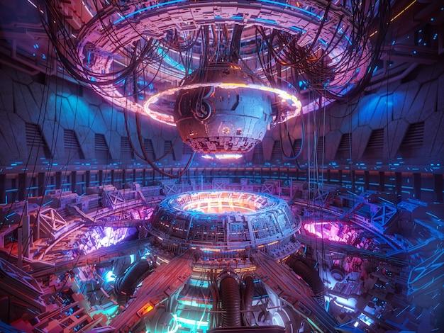 Fundo futurista de tecnologia, nave espacial de ficção científica interior Foto Premium