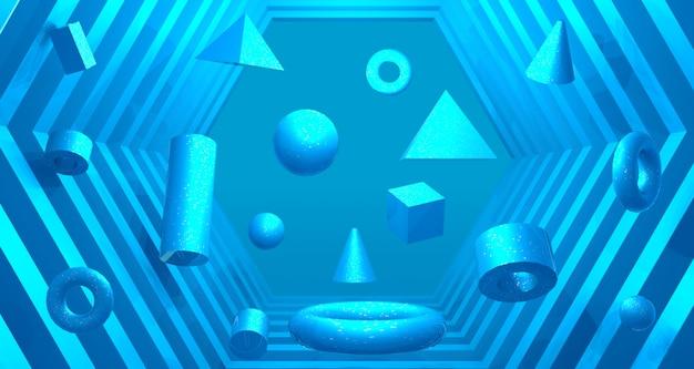 Fundo futurista do realismo da profundidade do túnel 3d. renderização em 3d.