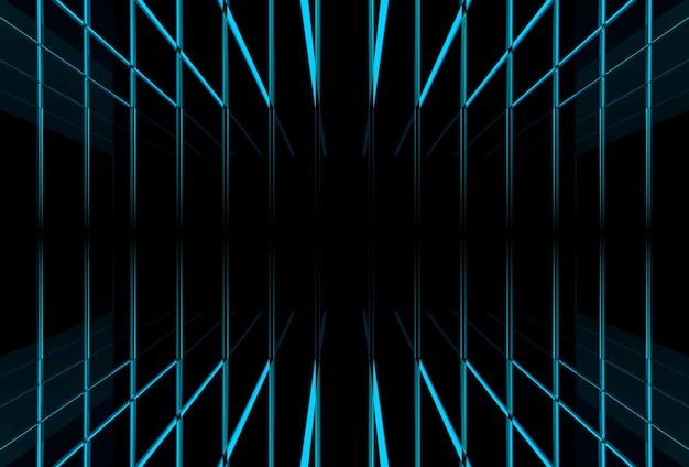 Fundo futurista moderno da luz do feixe azul.