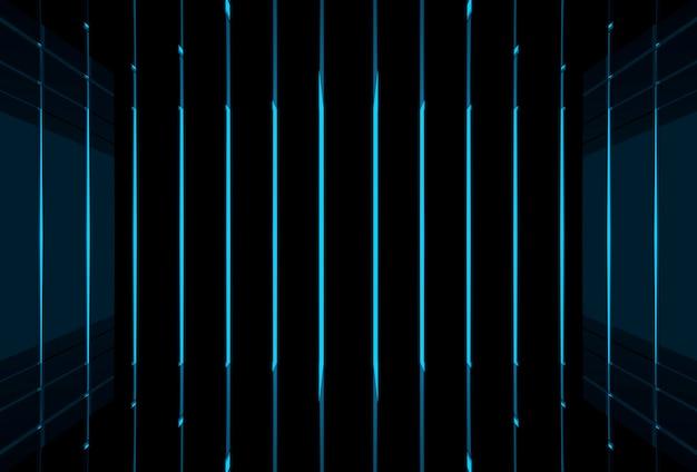 Fundo futurista moderno da parede da luz do feixe azul.