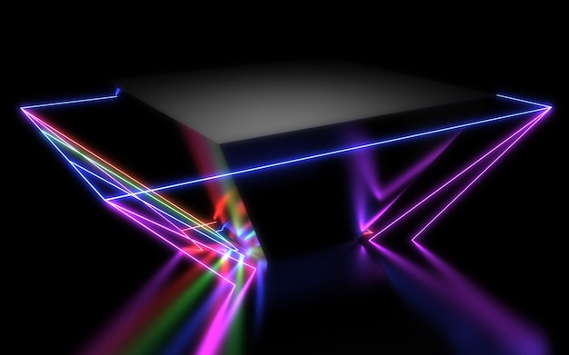 Fundo geométrico abstrato 3d com luzes de néon. ilustração 3d